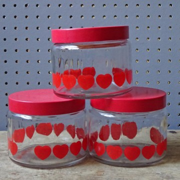 Vintage heart printed glass storage jars | H is for Home