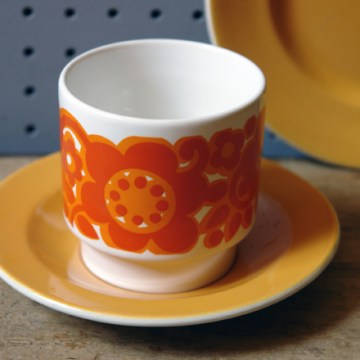 Vintage orange Staffordshire Potteries tea trio | H is for Home