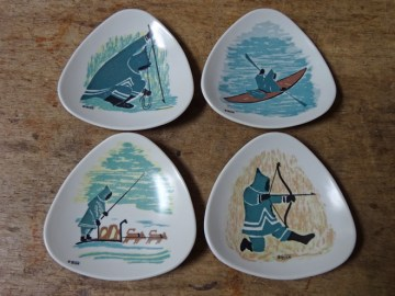 Vintage Ornamin melamine plates with Inuit illustrations | H is for Home