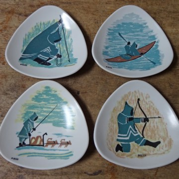 Vintage Ornamin melamine plates with Inuit illustrations | H is for Home