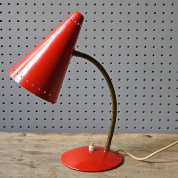 Red vintage 1950s desk lamp | H is for Home