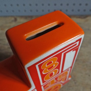 Vintage red Carltonware train money box