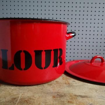 red enamel flour bin
