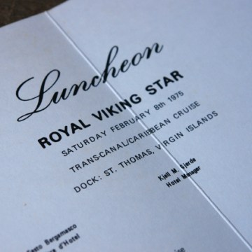 Royal Viking Star luncheon menu