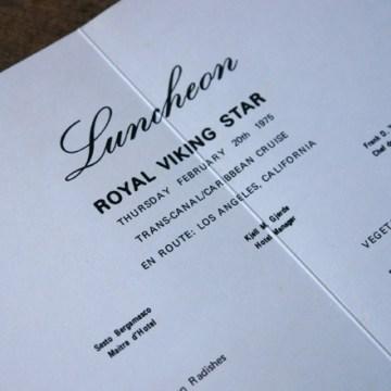 Royal Viking Star luncheon menu