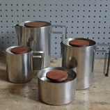 Modernist stainless steel tea set
