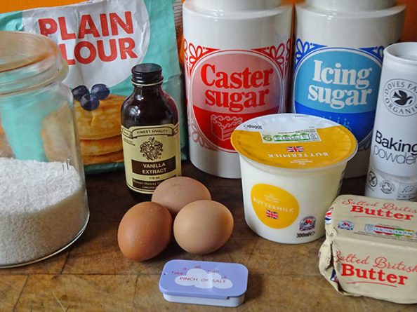 Home-made coconut buttermilk pound cake ingredients