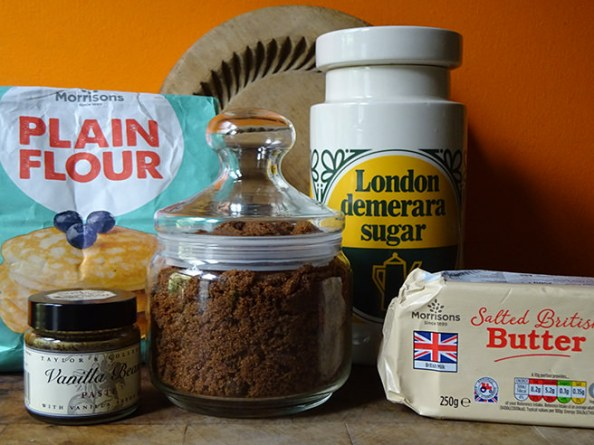 Home-made muscovado shortbread ingredients