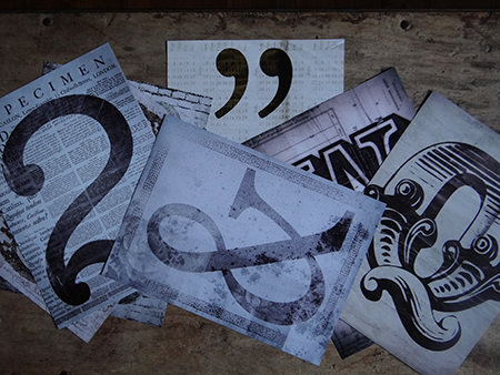sheets of font characters from the 1Wall Creative Collage set