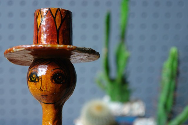 Vintage Abelardo Ruiz candle holder detail showing the face | H is for Home