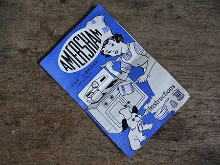 Original booklet for the vintage Amersham toy cooker