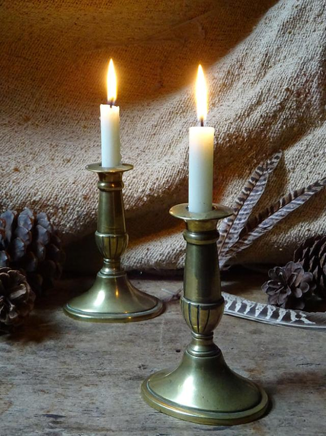 Pair of antique Georgian brass candlesticks | H is for Home