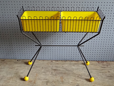 Vintage yellow plastic &amp black metal Atomic plant stand