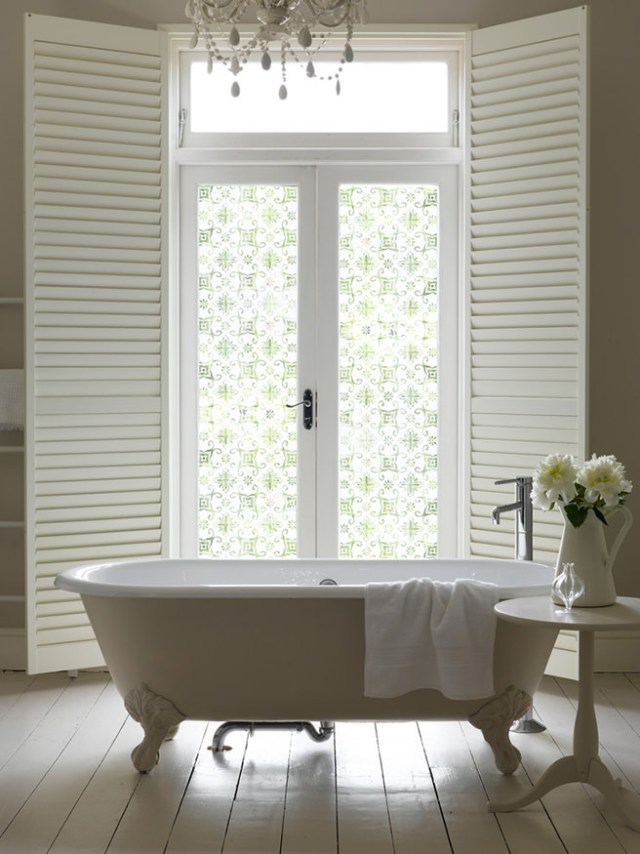 Bathroom with patterned opaque film on windows