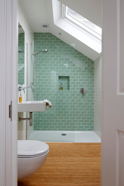 green tiled shower