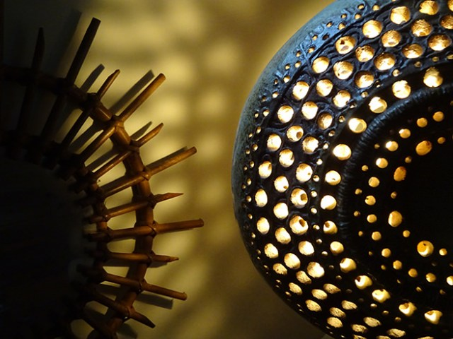Detail of a vintage Bernard Rooke lamp with the light diffusing through | H is for Home