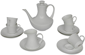 Vintage Bidasoa Block 'Blanco' coffee set