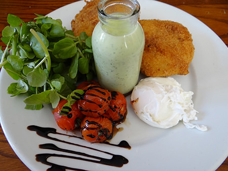 Bubble & squeak with poached egg, tomatoes and watercress sauce at the Brown Cow, Bingley
