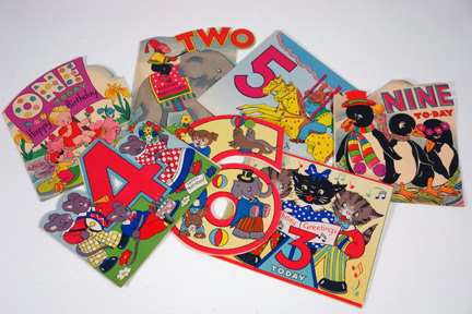 selection of vintage 1950s/60s children's birthday cards | H is for Home