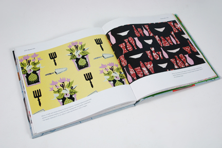 "page from the book entitled ""1950s Fashion Prints"" by Marnie Fogg showing vintage 1950s fabric with stylised plant pot print"