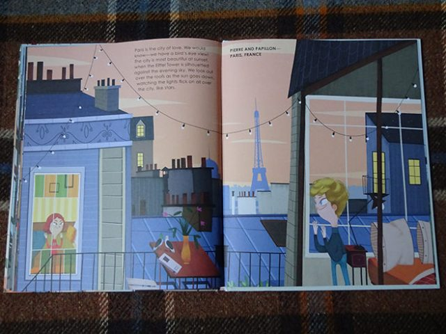 'Pierre & Papillon in Paris' page in Home Sweet Home by Mia Cassany and illustrated by Paula Blumen