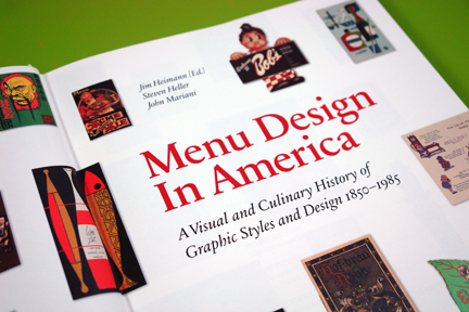 "front page from ""Menu Design in America"" book"
