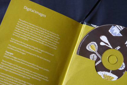 page from V & A Pop Patterns book by Oriole Cullen showing CD containing high resolution pattern images