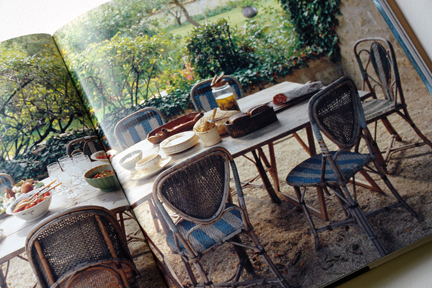 """vintage blue & white bistro chairs on a patio from """"The Way We Live In the Country"""" by Stafford Cliff & Gilles de Chabaneix"""