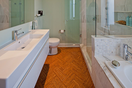 Cork flooring in a bathroom