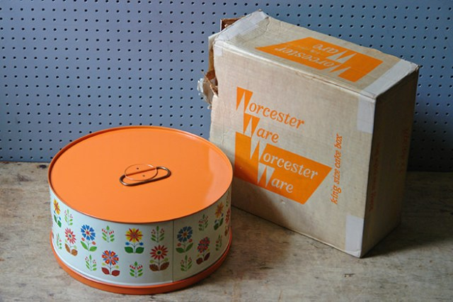 Large orange floral vintage Worcester Ware cake tin with original box | H is for Home