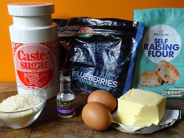 Home-made almond and blueberry sponge pudding ingredients