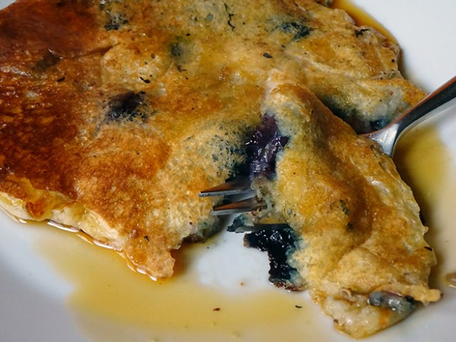 Buttermilk pancake with blueberries and maple syrup | H is for Home