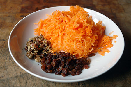 grated carrot, sultanas and chopped walnuts