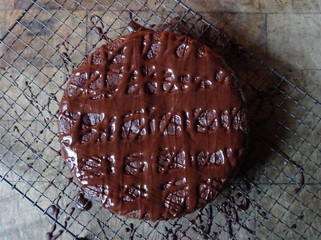 Home-made chocolate and beetroot cake with chocolate drizzled over the top | H is for Home