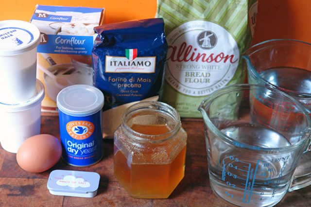 Home-made cornmeal loaf ingredients