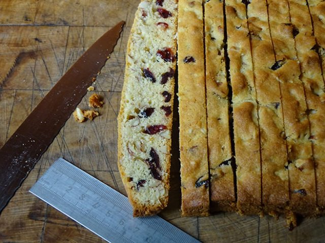 Sliced cranberry almond biscotti | H is for Home
