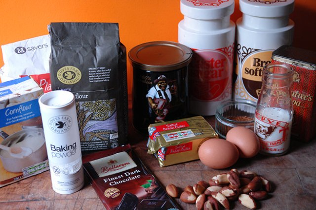 Home-made double espresso brazil nut cake ingredients