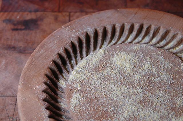 Antique shortbread mould floured with polenta   H is for Home