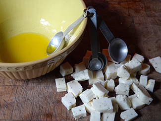 Cubed halloumi and extra virgin olive oil | H is for Home