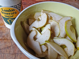 Sliced pears tossed in Demerara sugar | H is for Home
