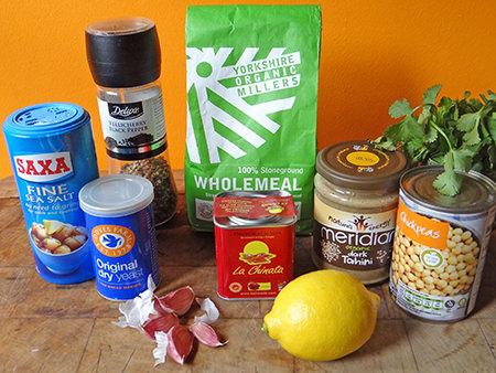 Pitta and hummus ingredients