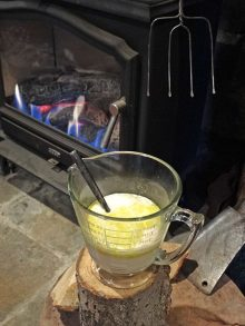 yeast mixture next to the fire