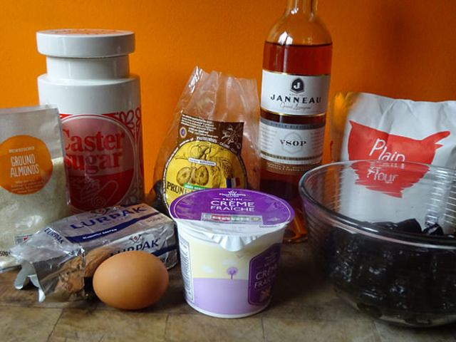 Home-made prune and almond tart ingredients