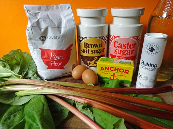 Home-made rhubarb upside-down-cake ingredients