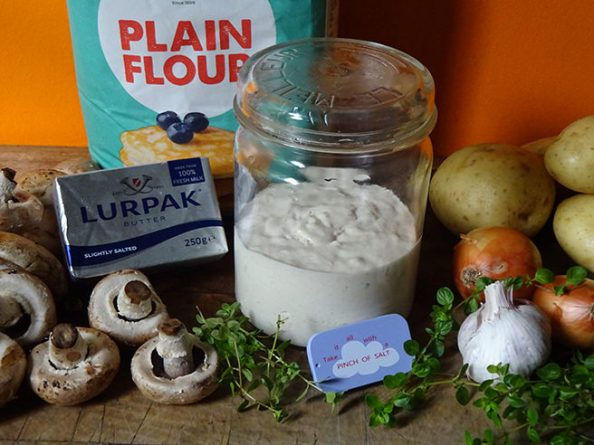 Home-made mushroom pasty ingredients