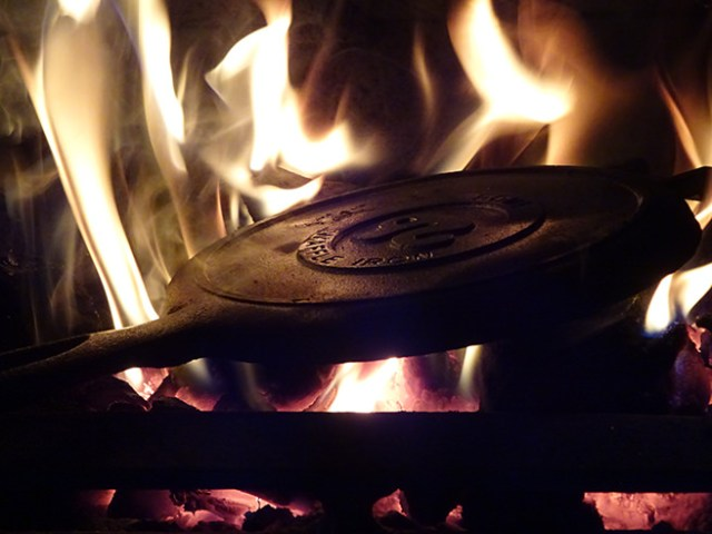 Seasoning our new Rome's Original Old Fashioned Waffle Iron in our wood-burning stove | H is for Home