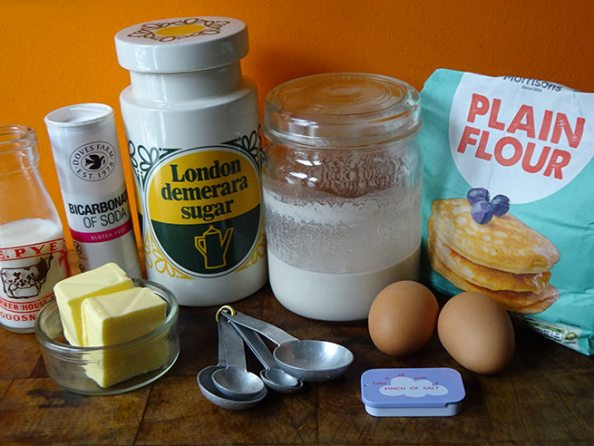 Home-made sourdough waffles ingredients