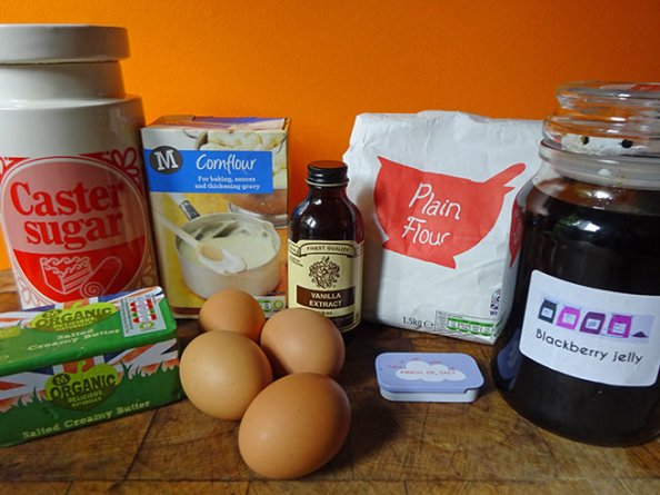 Home-made swiss roll ingredients