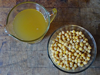 bowl of cooked chickpeas with measuring jug of aquafaba | H is for Home