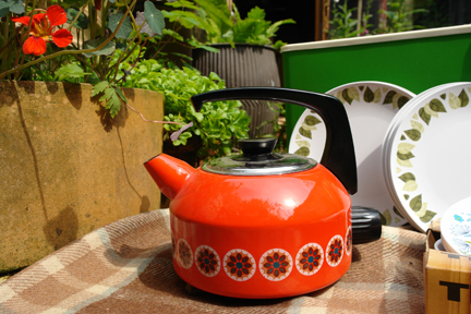 vintage orange enamel kettle
